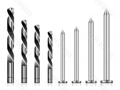 Realistic drill bit and steel nail
