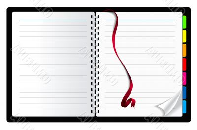 notebook paper with page curl and ribbon bookmark