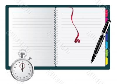 Pen, spiral notepad and stopwatch. Vector illustration.