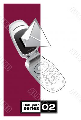 vector mobile phone with sms on white