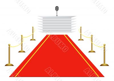 Red carpet to tribune on white background