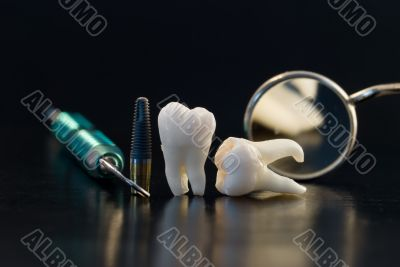 Real Human Wisdom teeth and Dental instruments