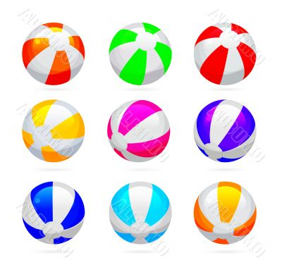 Beach ball with glossy reflections. Color set