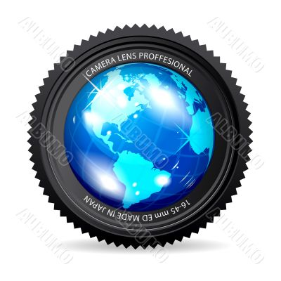 Zoom the World! Vector illustration of camera lens with Globe