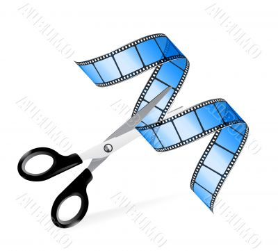 Scissors and film strip as video editing concept