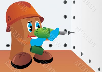 Builder with screwdriver