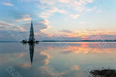 flooded belltower in Kalyazin at sunrise