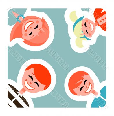 Happy family cards, backgrounds. Color Vector family lifestyle p
