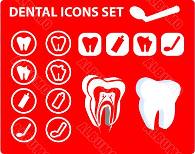 Medical Dental icons, tooth scheme, emblem, illustration. Simply