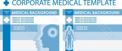 Corporate medical presentation, report template. Human backgroun
