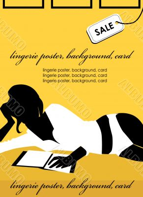 Sexy woman with book Lingerie poster, sale background, fake card