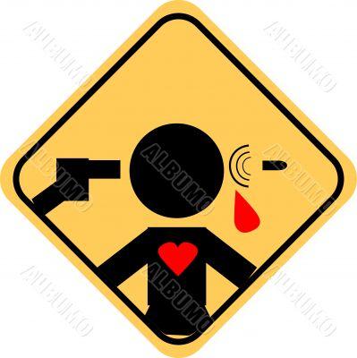 Suicide danger icon, Unfortunate love, depression sign Self-Dest