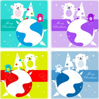 4 Vector christmas Polar Bear  dancing  family, kids greetings c