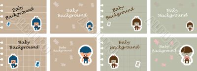 8 baby, kids, children backgrounds, icons. Fashion fake paper wi