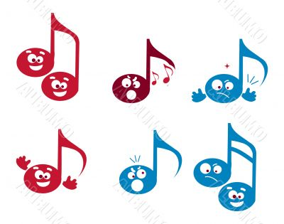 Abstract Music illustrations, note web icons set, dots emotions,