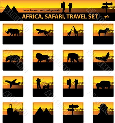 Africa, safari,Tourism, travel, savanna silhouette set. Icons, b