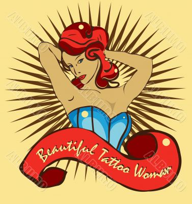 Beautiful sexy tattoo woman, retro vintage sticker, Vector T-shi
