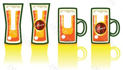 Beer; 4 Objects on white background, with fake label, Ornate bee