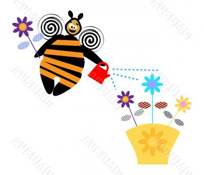 Busy Bee with flowers illustration, design element