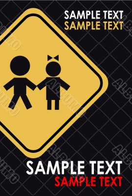 Children, kids in danger poster, card, advertise. Warning sing,