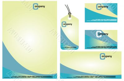 Corporate Identity Template Vector set. Vanilla blue paper backg