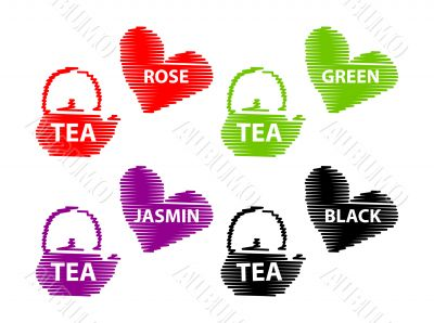 Different Tea Emblems - Black, Rose, Jasmin, Green fake stroke l