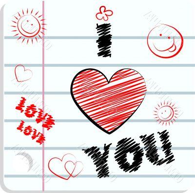 Fake paper love card, congratulations, love emblem. Vector smile
