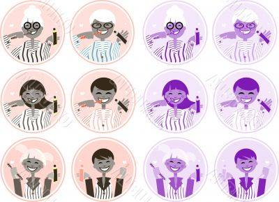 Happy family brushing teeth vectoe labels, tags, icon