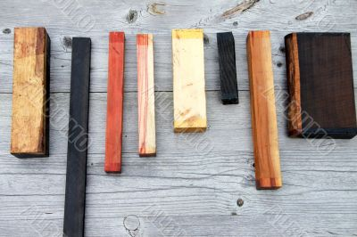 pieces of wood in a row