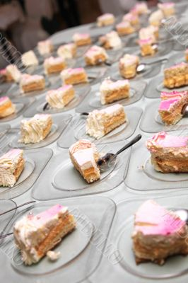 many individual pieces of cake