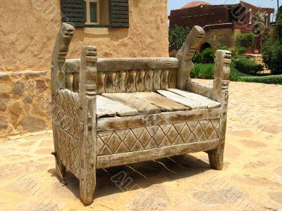 Oriental wooden bench