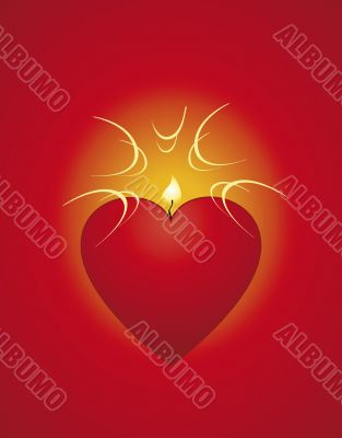 Red heart-candle