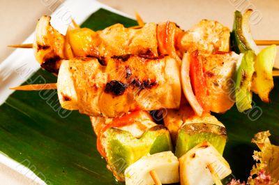 chicken and vegetables skewers