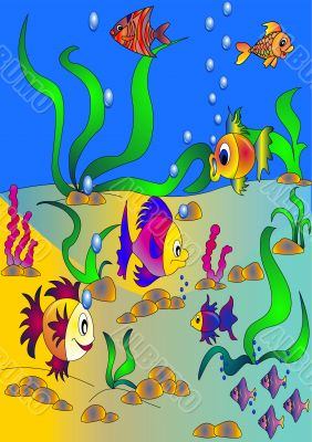 The Colorful fishes and vegetation