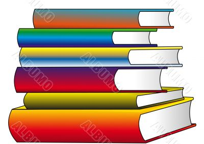 The Pile of the color books, insulated