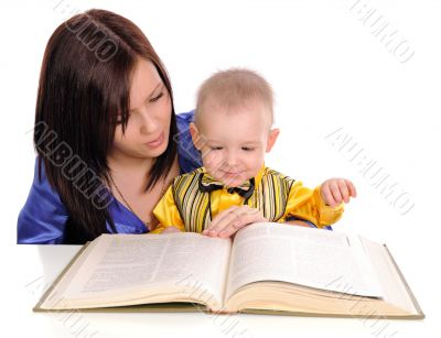Mother and son reading.