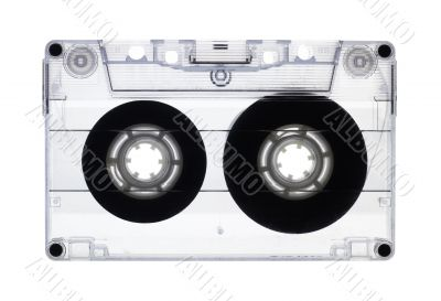 Transparent old audio cassette isolated on white, with clipping