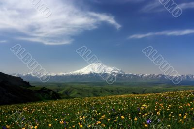 Elbrus and the Main Caucasian mountain ridge