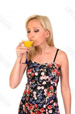 Female drinks martini.