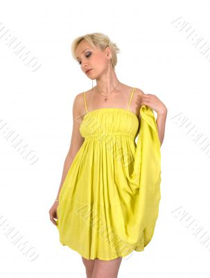 Female in a yellow dress.