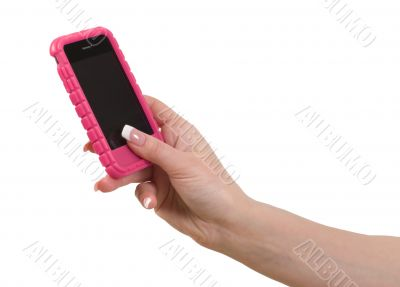 Cellphone in female hand.