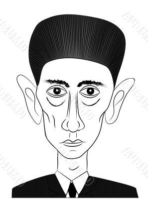 famous writer Franz Kafka - vector