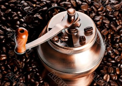 vintage coffee mill in beans