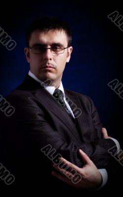 man on black background