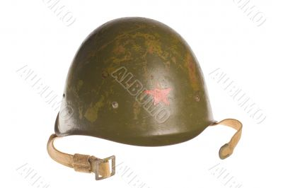 Russian army green helmet with red star on a white