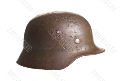 German military helmet on a white