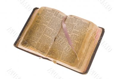Old antique vintage open bible isolated with cliping path.