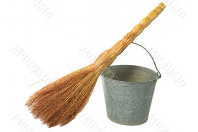 Old vintage traditional  bucket, broom.