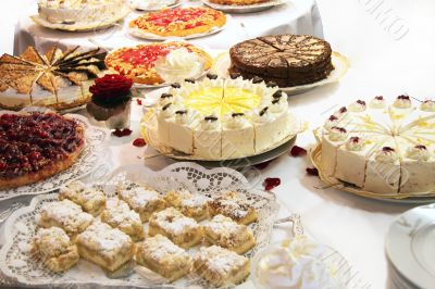 Cake buffet with various cakes