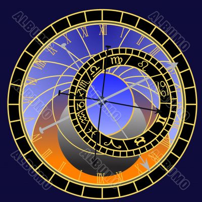Prague astronomical clock - vector